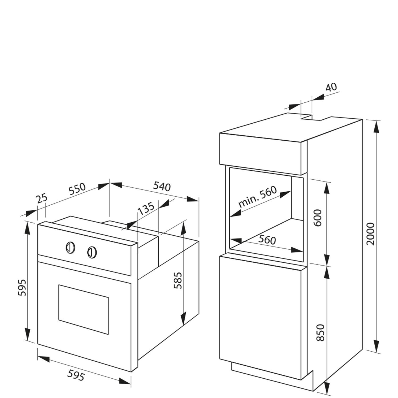 Pyrolyse-Einbaubackofen 236234 / Skizze