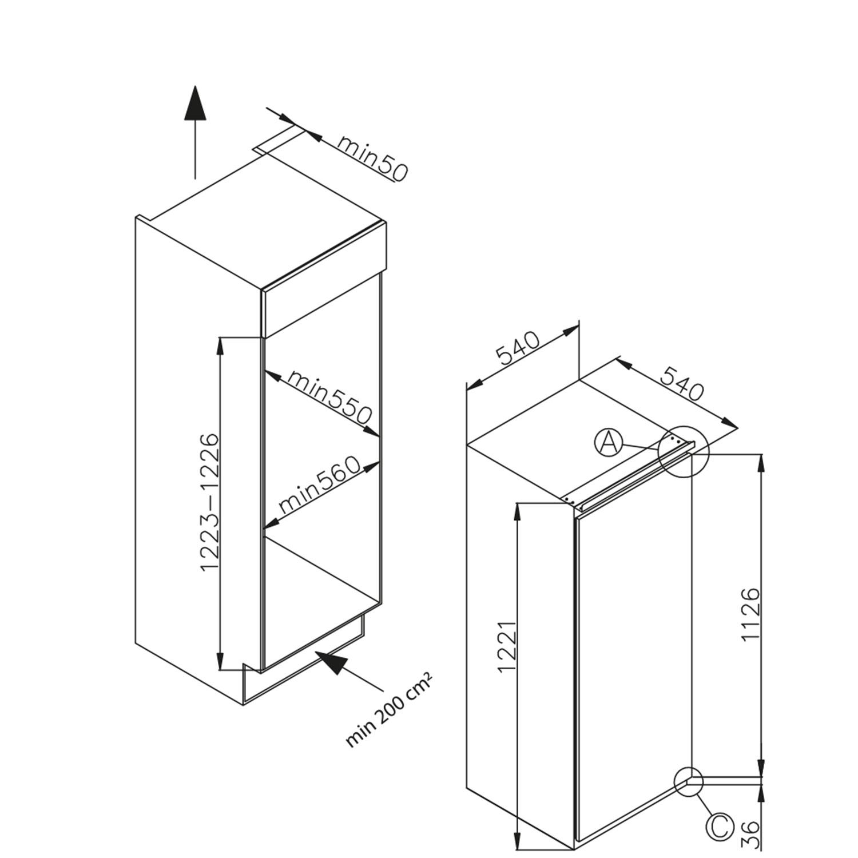 Einbau-Vollraum-Kuehlschrank 361656 / Skizze