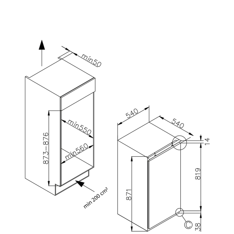 Einbau-Kuehlschrank-mit-Gefrierfach 361616 / Skizze