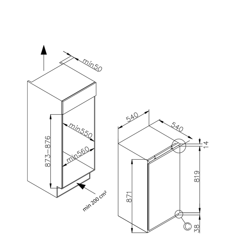 Einbau-Vollraum-Kuehlschrank 361626 / Skizze