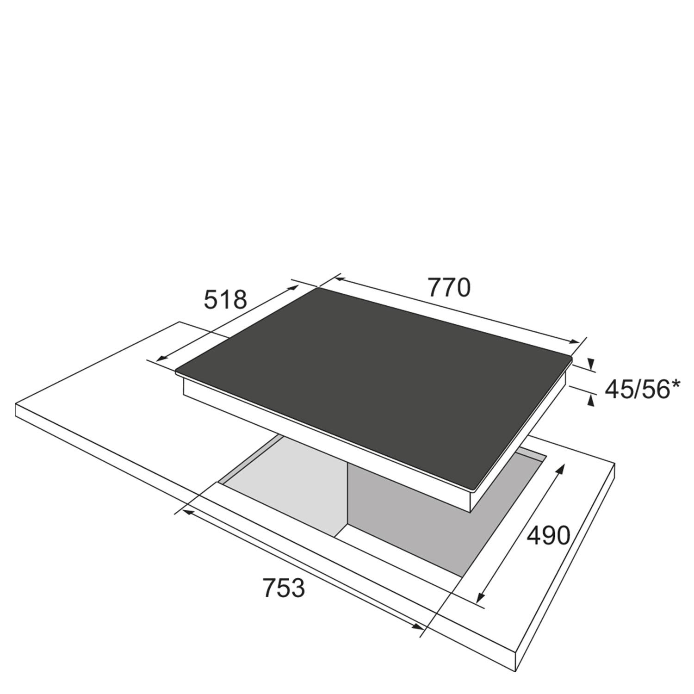Glaskeramikkochfeld 345604 / Skizze